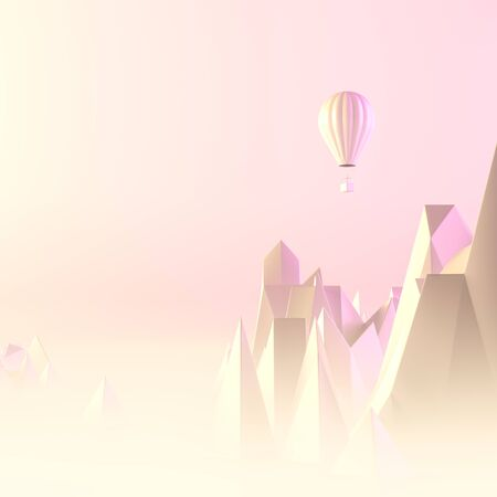 Travel concept background design with hot air balloon and mountains. Surrealist background design with pastel colors. 3D illustration. Stok Fotoğraf