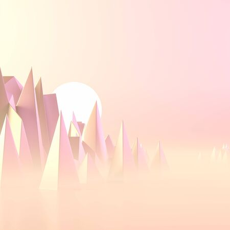 Sun is risign above the mountains. Surrealist background design with pastel colors. 3D illustration.