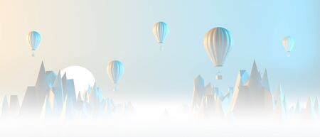 Travel concept background design with hot air balloon and mountains. Surrealist background design with pastel colors. 3D illustration. Stok Fotoğraf - 132699480
