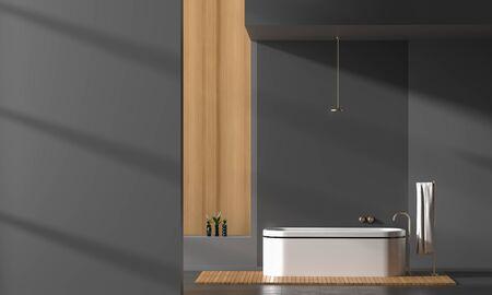 Modern spacious bathroom interior with emty wall for mock ups. 3D illustration. Stok Fotoğraf - 133094262