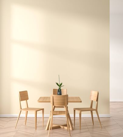 Empty wall mock up in modern dining room with wooden chair and table.  Minimalist dining room design with copy space. 3D illustration. Stok Fotoğraf - 133094650