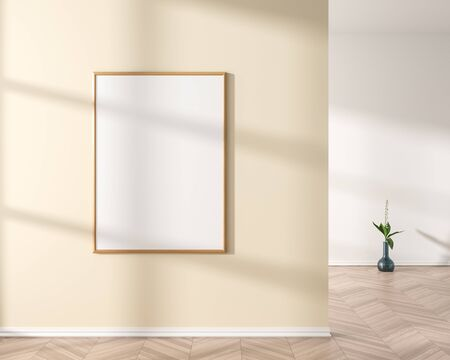 Mock up poster frame in modern style interior. Minimalist interior design. 3D illustration. Stok Fotoğraf - 133094139