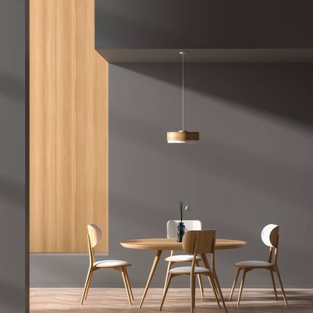 Modern dining room with wooden chair and table.  Minimalist dining room design. 3D illustration.