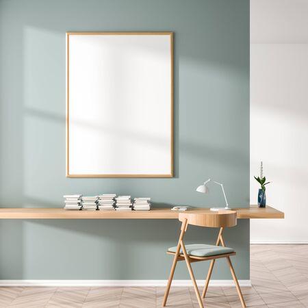 Mock up poster frame in Scandinavian style interior with wooden work desk. Minimalist workplace design. 3D illustration. 写真素材