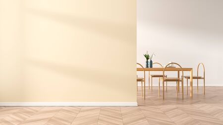 Empty wall mock up in modern dining room with wooden chair and table.  Minimalist dining room design with copy space. 3D illustration.