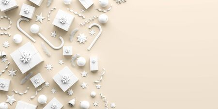 Merry Christmas and happy new year background. Christmas background design with white ornaments on light background. 3D illustration. Stok Fotoğraf