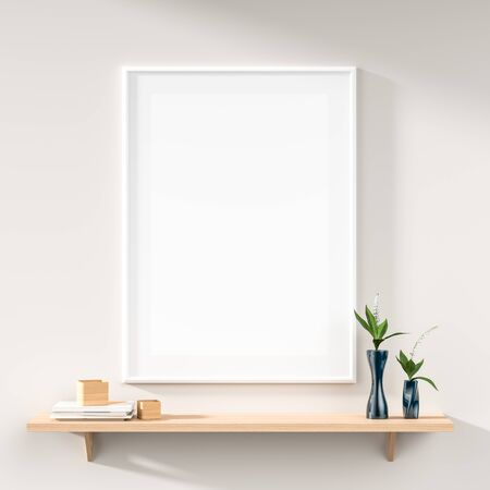 Mock up poster frame on white wall with wooden rack. 3D illustration Stock Photo