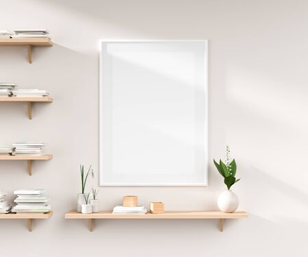 Mock up poster frame on white wall with wooden rack. 3D illustration Stok Fotoğraf