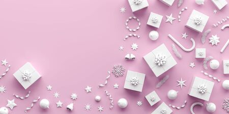 Merry Christmas and happy new year background. Christmas background design with white ornaments on pink background. 3D illustration. Stok Fotoğraf