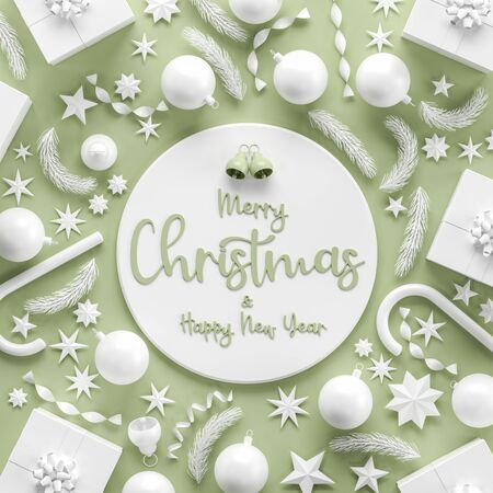 Merry Christmas and happy new year background. Christmas background design with white ornaments on light green background. 3D illustration.