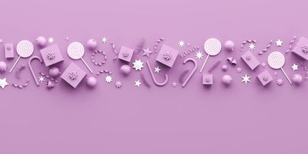Merry Christmas and happy new year background. Christmas background design with purple ornaments on purple background. 3D illustration.
