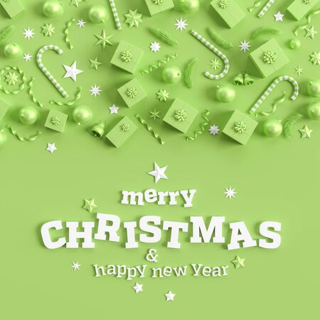 Merry Christmas and happy new year background. Christmas background design with green ornaments on light green background. 3D illustration.