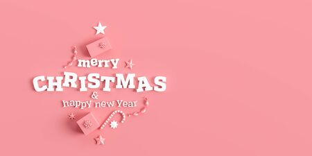 Merry Christmas and happy new year background. Christmas background design with  ornaments on coral pink background. 3D illustration.
