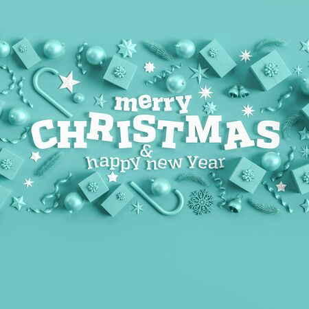 Merry Christmas and happy new year background. Christmas background design with  ornaments on light blue background. 3D illustration.
