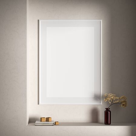 Mock up poster frame in Scandinavian style interior. Minimalist interior design. 3D illustration. Stock Photo