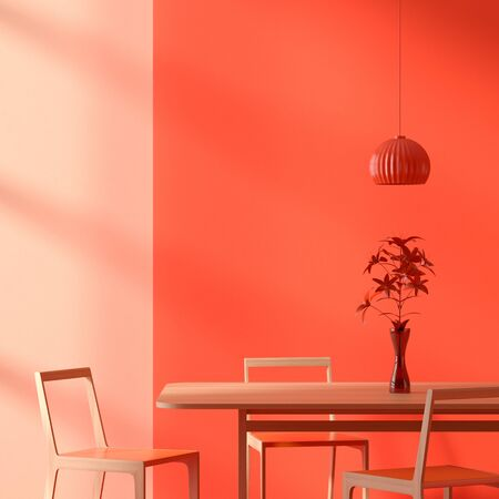 Scandinavian style dining room with wooden chair and table. Lush lava coloured dining room design. 3D illustration.