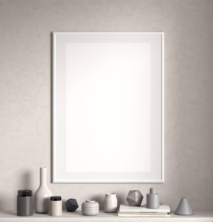 Mock up poster frame on white wall in Scandinavian style interior. Minimalist interior design. 3D illustration. Stok Fotoğraf