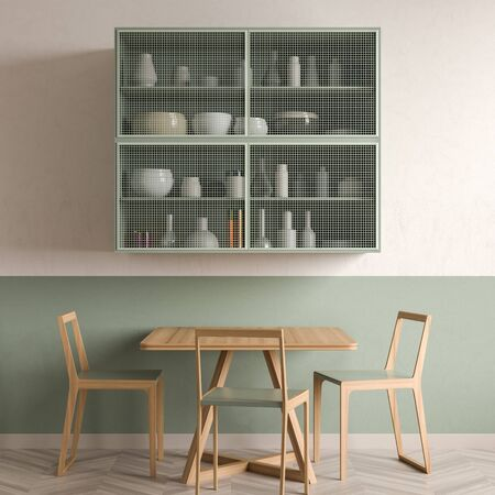 Minimalist dining room design with wooden table and chairs. 3D illustration