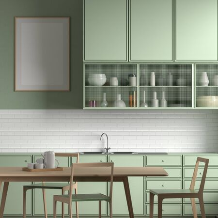 Mock up poster frame in Scandinavian style kitchen with dining table. 3D illustration