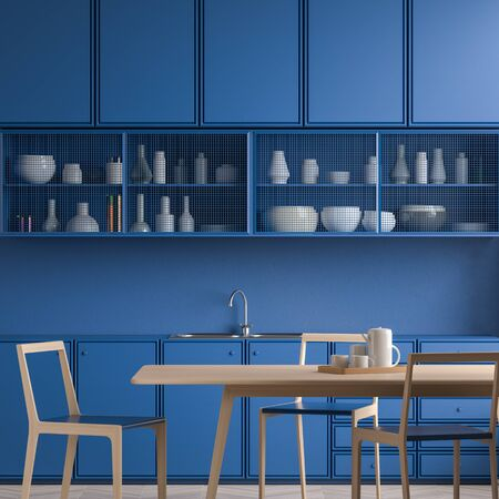 Modern spacious kitchen design. Minimalist kitchen design with blue cabinets. 3D illustration Stok Fotoğraf