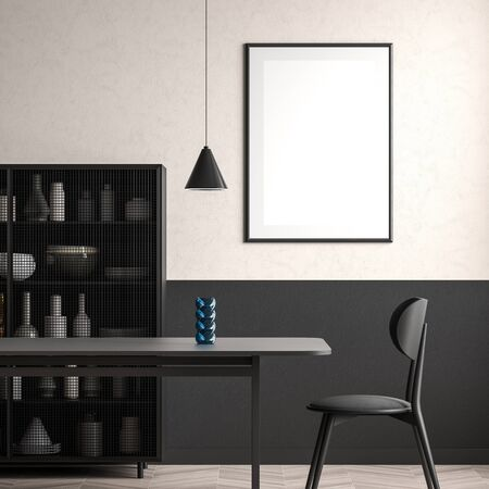 Mock up poster frame in dining room. Minimalist dining room design. 3D illustration