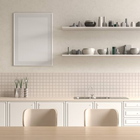 Mock up poster frame in Scandinavian style kitchen with dining table. Minimalist kitchen design. 3D illustration