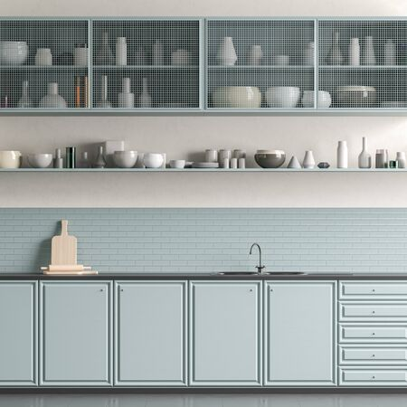 Modern spacious kitchen design with light blue colours. Minimalist kitchen design. 3D illustration Stok Fotoğraf