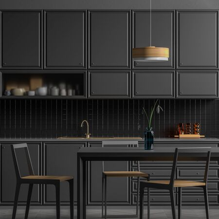 Modern spacious kitchen design with dining table. Minimalist kitchen design. 3D illustration