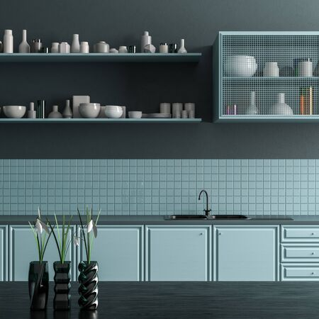 Modern spacious kitchen design. Minimalist kitchen design. 3D illustration Stok Fotoğraf