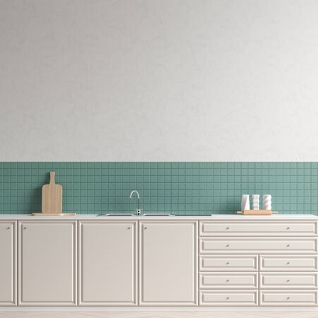 Modern spacious kitchen design. Minimalist kitchen design with copy space. 3D illustration