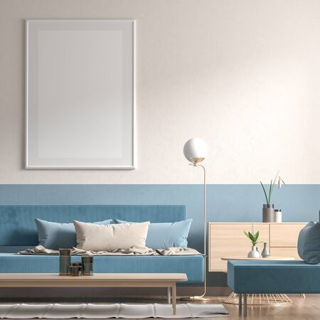 Mock up poster frame in Scandinavian style interior with modern furnitures. Minimalist interior design. 3D illustration. Stok Fotoğraf