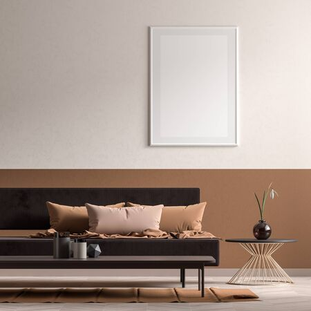 Mock up poster frame in Scandinavian style interior with modern furnitures. Minimalist interior design. 3D illustration. Stock Photo