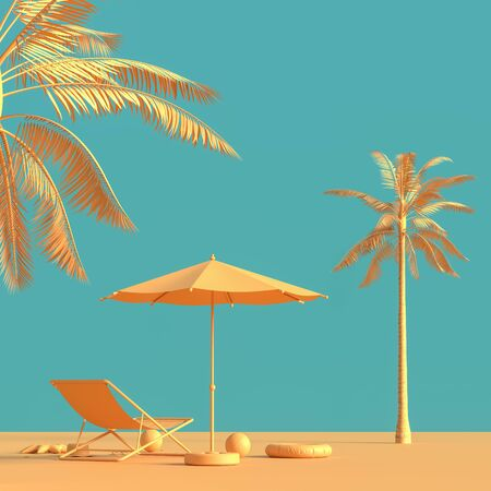 Travel concept background design with sea bed and umbrella. Mock up for travel concept design with copy space. 3D illustration. Фото со стока - 140500525