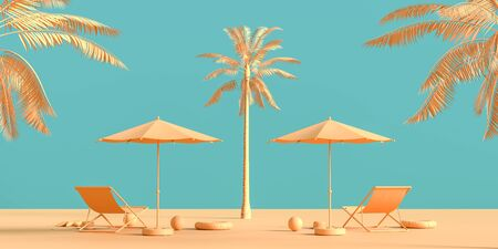 Travel concept background design with sea bed and umbrella. Mock up for travel concept design with copy space. 3D illustration.