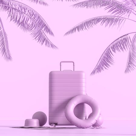 Traveler's accessories on pastel background with copy space. Mock up for travel concept design. 3D illustration.