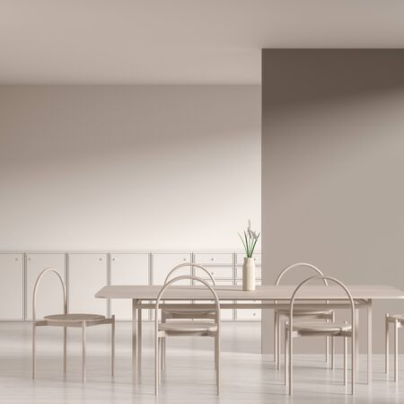 Scandinavian style dining room with wooden chair and table.  Minimalist dining room design. 3D illustration.