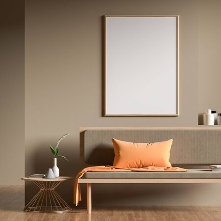 Mock up poster frame in Scandinavian style interior with modern furnitures. Minimalist interior design. 3D illustration. Фото со стока