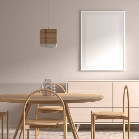 Mock up poster frame in Scandinavian style dining room with wooden chair and table.  Minimalist dining room design. 3D illustration. Фото со стока