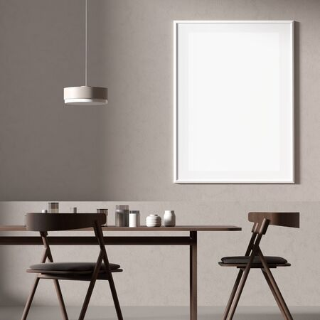 Mock up poster frame in Scandinavian style dining room with wooden chairs and table.  Minimalist dining room design. 3D illustration.