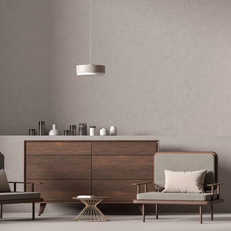 Empty wall mock up in modern style interior. Minimalist interior design. 3D illustration.