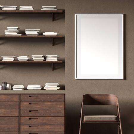 Mock up poster frame in Scandinavian style interior with wooden furnitures. Minimalist interior design. 3D illustration.