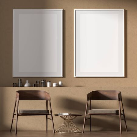Mock up poster frame in Scandinavian style interior with wooden furnitures. Minimalist interior design. 3D illustration. Foto de archivo
