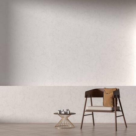 Empty wall mock up in modern style interior with wooden armchair. Minimalist interior design. 3D illustration. Фото со стока