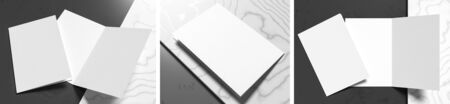 Realistic bi fold brochure or invitation mock up isolated on gray - white marble background. 3D illustration. Фото со стока