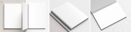 A4 format spiral binding notebook mock up on white marble background. Realistic notebook mock up rendered with three different angles. 3D illustration. Фото со стока