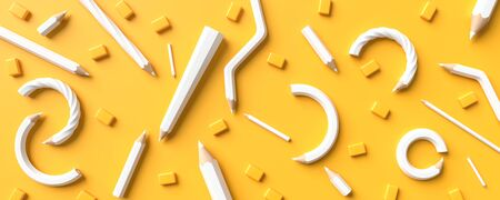 White pencils isolated on yellow background with copy space. Creative background for education or business concept design. 3D illustration. Фото со стока