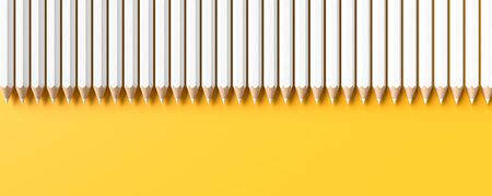White pencils isolated on yellow background with copy space. Creative background for education or business concept design. 3D illustration. Фото со стока - 142176041