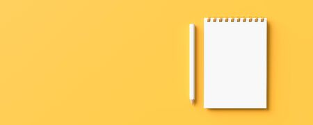 White pencil and notebook isolated on yellow background with copy space. Creative background for education or business concept design. 3D illustration.