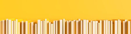 Yellow books isolated on yellow background with copy space. Creative background for education or business concept design. with text space. 3D illustration