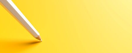 White pencils isolated on yellow background with copy space. Creative background for education or business concept design. 3D illustration. Фото со стока - 143283694
